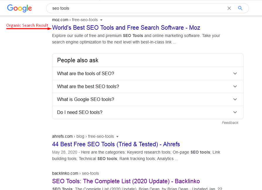 Organic Search Result