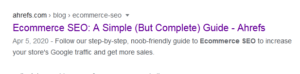 ecommerce seo meta description